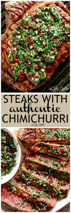 Steaks with Chimichurri (Churrasco) - Cafe Delites Steak Recipes, Grilling Recipes, Cooking Recipes, Healthy Recipes, Chimichurri Recipe Steak, Cafe Delight, Bbq, Beef Dishes, Tasty Dishes