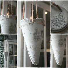 betong ute och inne: gjutet i betong. hanging concrete lamp, candle holder or flower pot