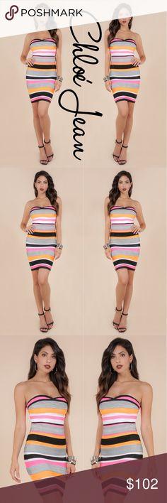 🌻 Multi Color Tube Top Body Con Dress 🌻 Multi Color Tube Top Body Con Dress ShopChloeJean.com Dresses Mini