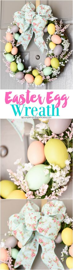 Easter Egg Wreath - create a beautiful Spring wreath with easter eggs, moss, and flowers. Add a pink and mint floral bow and you have a pretty DIY Easter egg wreath to welcome guests. MichaelsMakers  A Pumpkin And A Princess
