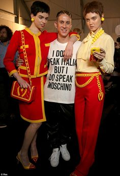 Drawing a comparison between fast food and fast fashion, Moschino's new creative director, Jeremy Scott (pictured, center), took inspiration from McDonald's for his debut runway collection during Milan Fashion Week