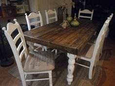 Rustic farm table with bench farmhouse dining table plans wood farmhouse table pallet farm table pallet . Farm Table With Bench, Rustic Farm Table, Farmhouse Kitchen Tables, Diy Dining Table, Table And Chairs, A Table, Kitchen Dining, Kitchen Decor, Dining Set