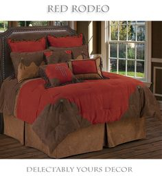 Red Rodeo bed in a bag western comforter set features a rich red super soft micro suede comforter scalloped corners in a tooled faux leather. Scalloped faux leather pillow shams, braided frame toss pillow, and distressed Faux Leather Bedskirt complets the true western look any cowboy or cowgirl will love coming home to. Red Rodeo western bedding is available in twin, full, queen and king size with a full range of matching western curtains, valances, sheets and decor.