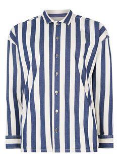 Blue and White Block Stripe Overshirt - TOPMAN