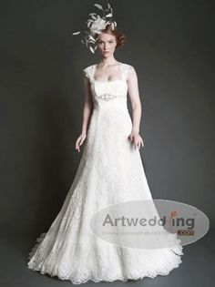 Cap Sleeves Allover Lace Princess Wedding Dress with Applique and Ribbon