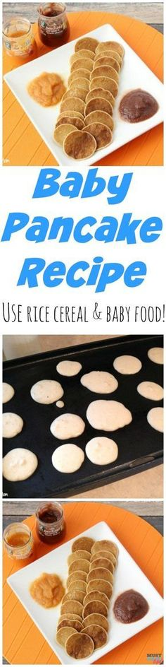 Baby pancake recipe that uses up leftover rice cereal and baby food! Great baby finger foods or toddler finger food idea!