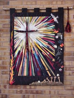 All Seasons idea is interesting. Church Banners Designs, Logos Retro, Cross Quilt, Cross Art, Prophetic Art, Christian Art, Christian Crafts, Collaborative Art, Quilted Wall Hangings