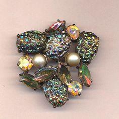 Vintage Elsa Schiaparelli Lava Rocks Pin Brooch Rhinestones