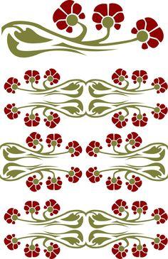 art nouveau flower ilustration