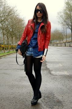 Red leather jacket... I have a jacket just like this. Like this look with it.