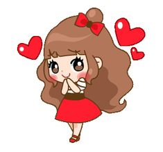 Cherry and Friends Love You Gif, Cute Love Gif, Cute Cartoon Girl, Cute Love Cartoons, Animated Emoticons, Animated Gif, Cartoon Gifs, Cute Cartoon Wallpapers, Happy Face Images