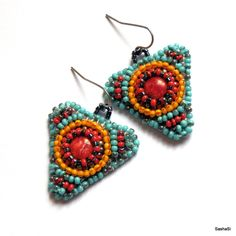 Bead embroidered earrings