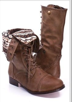 Fold over tribal brown combat boots
