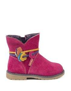 Flower Trim Suede Boots