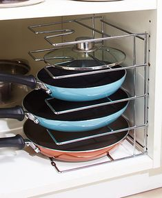 Save space and bring order to your cookware cabinet with this Chrome Skillet/Lid Organizer. Position it horizontally or vertically to keep frying pans and lids neatly arranged. Diy Kitchen Storage, Kitchen Pantry, Storage Cabinets, Kitchen Organization, Kitchen Decor, Kitchen Cabinets, Organization Ideas, Storage Ideas, Kitchen Ideas