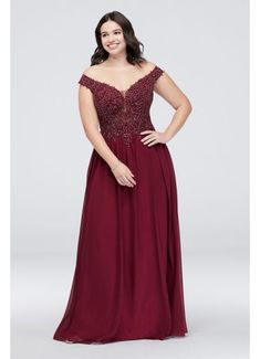 This chiffon sheath plus-size dress is full of lovely details, like an off-the-shoulder neckline, a sheer corded lace bodice, and an illusion mesh back. By Blondie Nites Polyester Back zipper; fully lined Spot clean Imported Also available in regular Tulle Ball Gown, Ball Dresses, Evening Dresses, Prom Dresses, Formal Dresses, Wedding Dresses, Bridesmaid Dresses Plus Size, Plus Size Party Dresses, Davids Bridal Plus Size