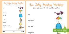 Matching Worksheets, Simple Words, One Sided, Seaside, Safety, Activities, Summer, Security Guard, Summer Time