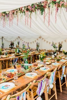 Multicoloured flowers floral hanging installation at this spring festival-style wedding at Cottage Rivington. The flowers really adds a touch of romance to the festival theme. Tipi Wedding, Marquee Wedding, Woodland Wedding, Wedding Themes, Wedding Blog, Wedding Colors, Rustic Wedding, Wedding Decorations, Wedding Ideas
