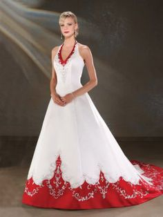 Cheap wedding dress, Buy Quality color wedding dress directly from China wedding dresses wedding dresses Suppliers: Vintage Red A-line Colorful Wedding Dresses With Color Halter Beaded Embroidery Satin Non White Bridal Gowns vestido de noiva Wedding Dress Types, Popular Wedding Dresses, Top Wedding Dresses, Classic Wedding Dress, Perfect Wedding Dress, Cheap Wedding Dress, Red Wedding, Designer Wedding Dresses, Bridal Dresses