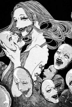 Art And Illustration, Dark Art Illustrations, Dark Art Drawings, Japanese Horror, Japanese Art, Dark Fantasy Art, Aesthetic Art, Aesthetic Anime, Arte Inspo