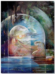 Abstract paintings and conceptual spiritual art by Freydoon Rassouli Romantic Artwork, Illustrator, Spiritual Paintings, Visionary Art, Art File, Sacred Art, Science Art, Religious Art, Celestial
