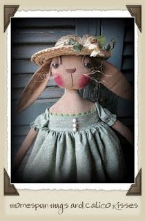 Primitive Doll - Bunny Rabbit ♥ Homespun Hugs and Calico Kisses