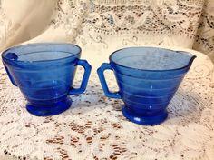 Blue #Cream & Sugar Set  Vintage #Colbalt Blue ##Creamer and Sugar Bowl Hazel Atla,  View more on the LINK: http://www.zeppy.io/product/gb/3/250787711/