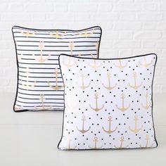 Sleep well! #kissen #cushion #anchor #black #white #stripes #dots #boathouse