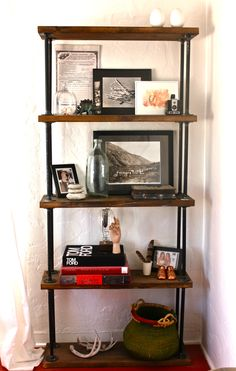 Mesmerizing Industrial Pipe Bookshelf Diy and pipe shelves garage Pipe Bookshelf, Diy Pipe Shelves, Industrial Pipe Shelves, Bookshelf Design, Industrial House, Pipe Shelving, Pipe Desk, Desk Shelves, Kitchen Industrial