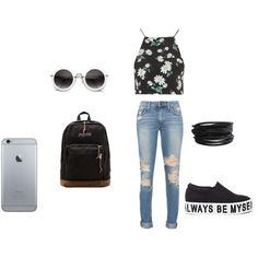 Style by americanescapestyle on Polyvore featuring moda, Topshop, JanSport and Pieces