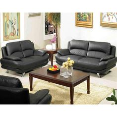 This furniture set includes a sofa and a loveseat. In a black color with chrome legs, this furniture set offers a luxurious Leather/Leather Match surface.