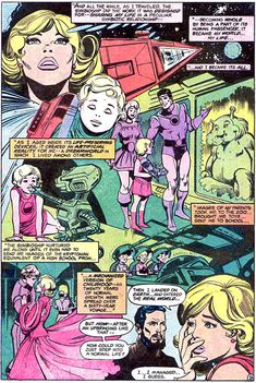 Kara's symbioship creates an artificial reality in her mind. From Showcase #98 (1976); art by Joe Staton and Dick Giordano.