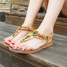f508339a853f78 Women Sandals Comfort Sandals Women Summer Bohemia String Bead Fashion Flat  Plus Size Sandals Attention