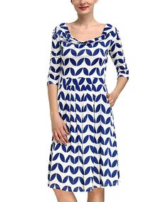 Look at this Reborn Collection Blue Leaf Drape Dress on #zulily today!