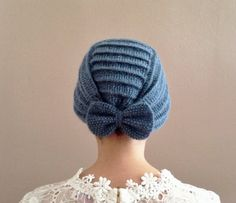 Blue Crochet Beret with Bow by SistersandStories on Etsy
