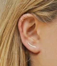 Modern Minimalist Set of 3 Ear Climber Smooth Sweeps Ear