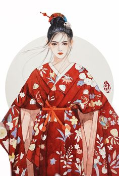 The illustrator Bai Yan Anime Art Girl, Manga Art, Anime Kimono, Chinese Drawings, Geisha Art, China Art, Japan Art, Beautiful Artwork, Female Art