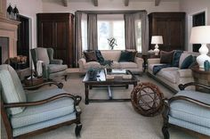 Contempory Living Room with Custom Furnishings; Teal and brown; Design by Shelley Gordon Interior Design