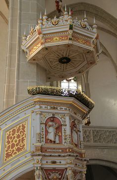 """""""Pulpit where Martin Luther preached at St. Mary's """" by TravelPod blogger ontheroadwgps from the entry """"Torgau and Wittenberg"""" on Tuesday, September 16, 2014 in Wittenberg, Germany"""