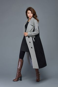 grey and black wool coat maxi warm coat long button by YL1dress