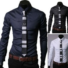 Top Design Stylish Mens Long Sleeve Slim Fit Casual Shirts Luxury Dress Shirts in Clothing, Shoes & Accessories, Men's Clothing, Casual Shirts | eBay