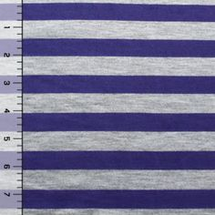 Violet Purple and Heather Gray Stripe Cotton Jersey Knit Fabric
