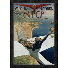 """Global Gallery 'Meeting d'Aviation / Nice' by Charles Leonce Brosse Framed Vintage Advertisement Size: 24"""" H x 16.7"""" W x 1.5"""" D"""