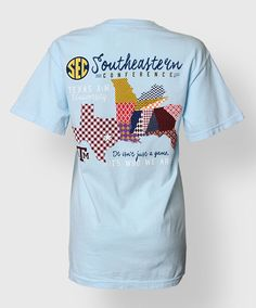 This cute powder blue Comfort Colors shirt has the map of the SEC school states on the back. Perfect for showing your Aggie and SEC pride!