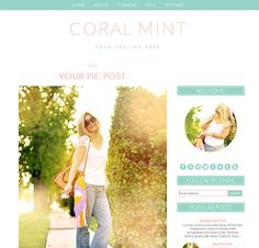 Blogger Template  Coral Mint  Blogger Theme  Instant by CWebsBiz