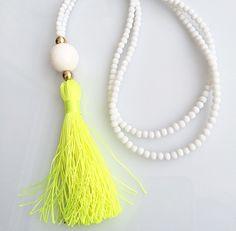 Long Beaded Necklace- White necklace - Neon Yellow Tassel Necklace