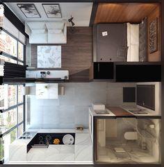 Проект Антона Зайцева, постаравшегося сделать квартирку в 29, 7 м² для молодой пары максимально просторной и функциональной.