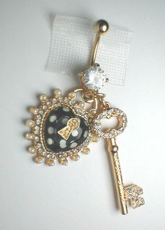Unique Belly Ring - Trendy Keyhole Heart and Key. $9.95, via Etsy.