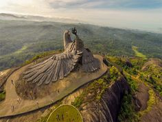 #JatayuNaturePark - #Kollam, #Kerala. Started with the aim of promoting mythology, adventure and wellness tourism, the park sprawls over 65 acres of land and is home to a giant #sculpture of Jatayu, the mythical bird from Ramayana who tried to rescue Sita from #Ravana. At the top of a hill, the sculpture sits at the spot where #Jatayu breathed his last after being struck down by #Ravana.