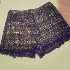 Very J fringe shorts! Black and gold high waisted tweed fringe shorts with purple under liner. Perfect condition. Very J Shorts